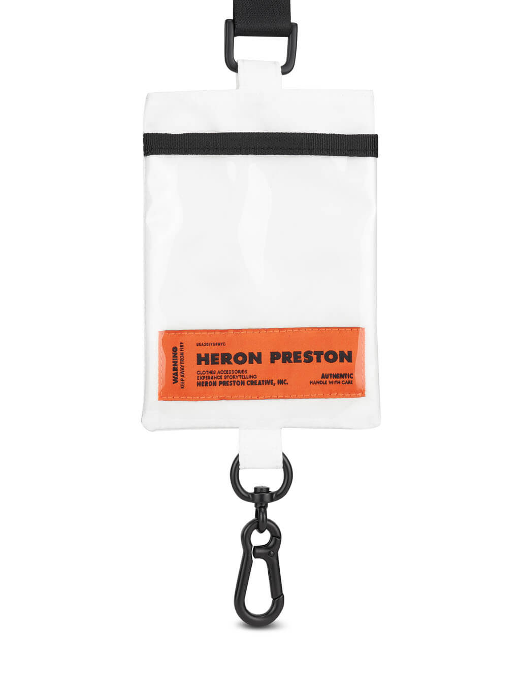 Men's Heron Preston Keychain Passport Holder in White - HMNF004R21FAB00110100
