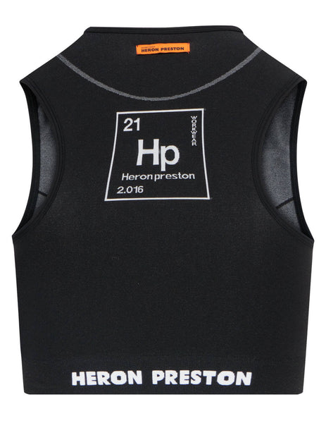 Women's Heron Preston Active Top in Black - HWVO004R21KNI0011001