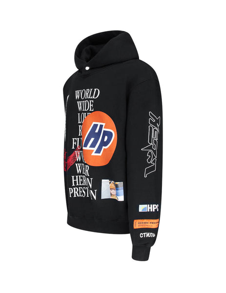 Heron Preston Men's Giulio Fashion Black Collage Hoodie HMBB011F20JER0011001