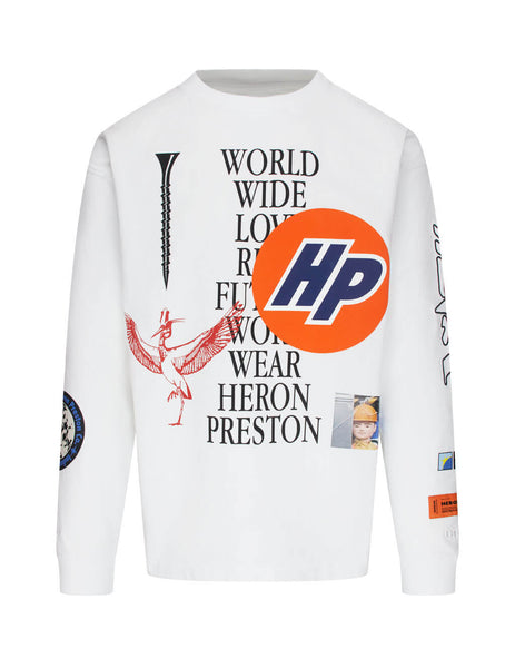 Men's White Heron Preston Collage Long Sleeve T-Shirt HMAB015F20JER0020110