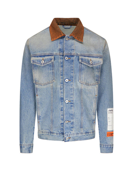 Heron Preston Blue Contrast Denim Trucker Jacket HMYE008F20DEN0024000