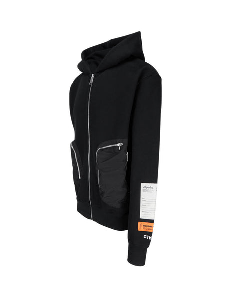 Heron Preston Men's Black Nylon Pockets Hoodie HMEA054F20JER0011000