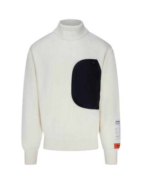 Heron Preston Men's Cream Patch Embellished Jumper HMHF002F20KNI0010400