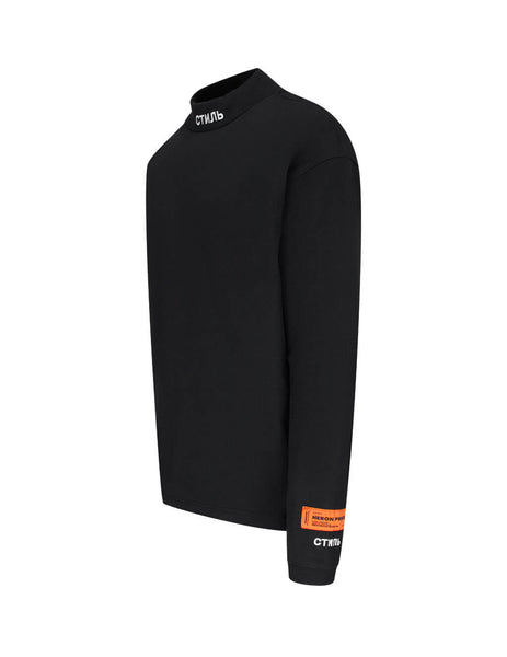 Men's Black Heron Preston Turtleneck Long Sleeve T-Shirt HMAB017F20JER0011001