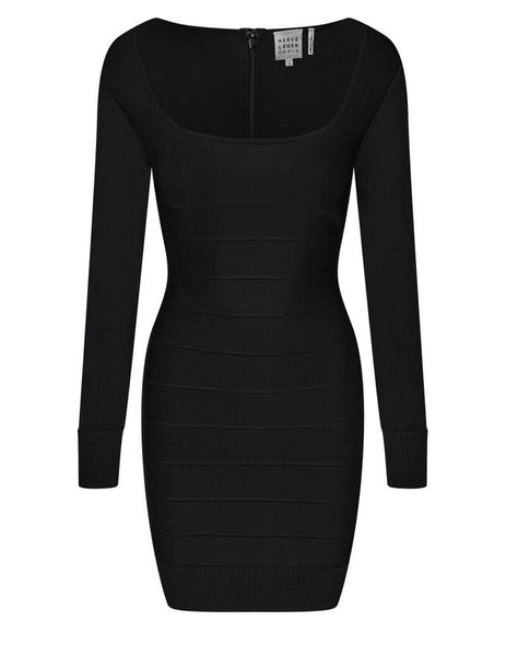 Herve Leger Women's Black Icon Square Neck Dress ICO8332782-001