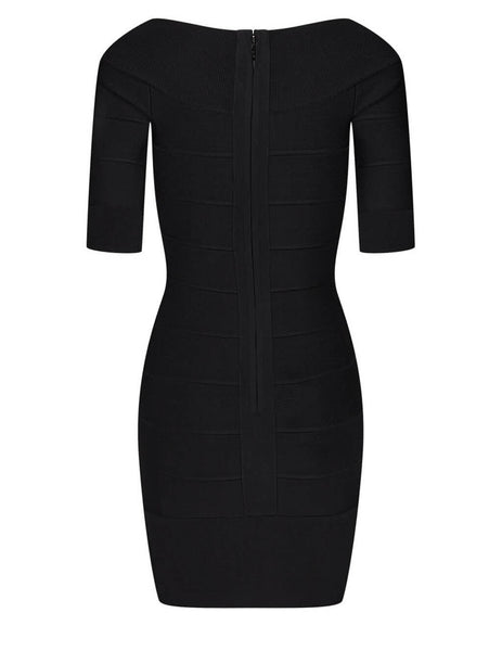 Herve Leger Black Iconic Off The Shoulder Dress HLT8239302-001