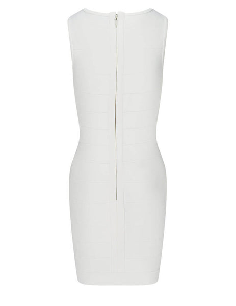 Herve Leger Alabaster Sleeveless Icon Mini Dress HLT8230563-902