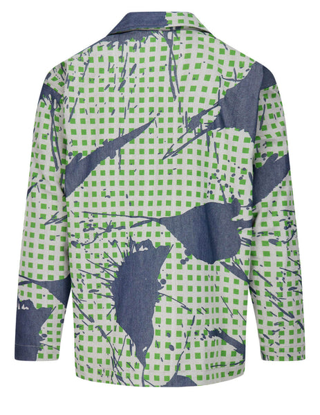 HOMME PLISSE ISSEY MIYAKE Burnt Out Printed Denim Jacket in Blue/Green - HP17-FC027-62