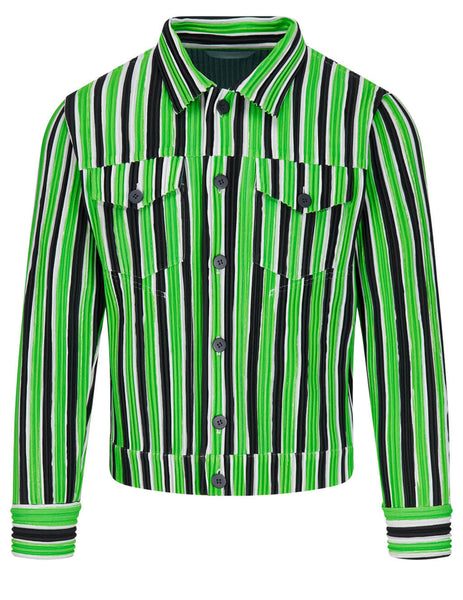 Men's HOMME PLISSE ISSEY MIYAKE Tailored Line Striped Trucker Jacket in Green - HP16-JC204-62