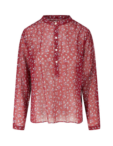 Women's Isabel Marant Etoile Maria Top in Garnet Red. HT112920A051E80GR