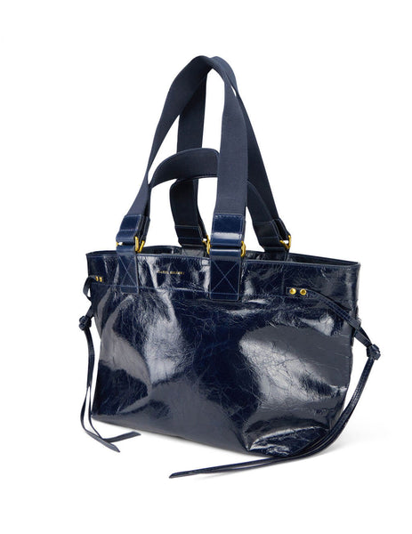 Women's Midnight Blue Leather Isabel Marant Bagya Tote Bag. PP020320A001M30MI