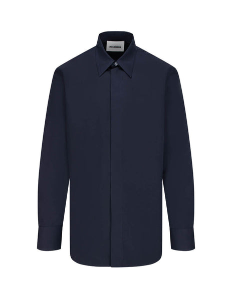 Jil Sander Men's Dark Blue Cotton Poplin Shirt JSMR740526-MR244300 402