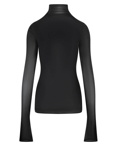Women's Jil Sander Dual Layer Long Sleeve Top in Black - JSWS707305-WS478408-001
