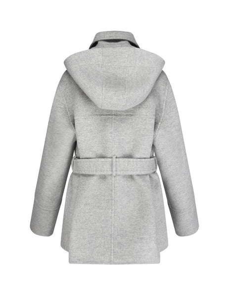 JOSEPH Women's Grey Wool Coat with Detachable Hood JF0034210201