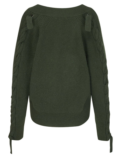 JW Anderson Women's Khaki Cable Detail Jumper KT0016 YN0056 575