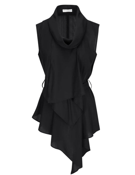 JW Anderson Black Draped Neck Sleeveless Top TP0124 PG0426 999