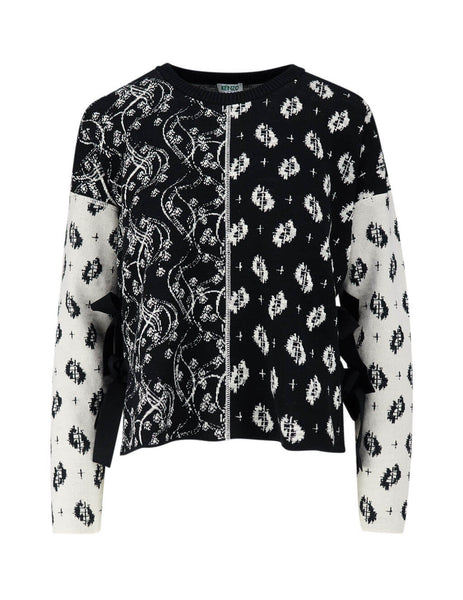 Women's Black and White KENZO 'Ikat & Urchin Waves' Sweater FA52PU510816.99