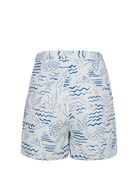 Women's Duck Blue KENZO Mermaid Shorts FA52SH05057A.73