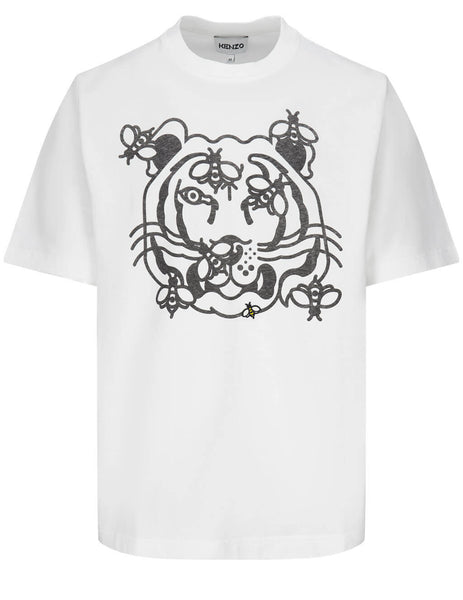 Men's KENZO Bee A Tiger T-Shirt in White - FB55TS0844SB01B