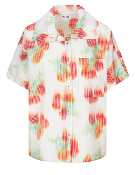 Women's KENZO Coquelicot Printed Hawaiian Shirt in White/Red - FB52CH0409S419