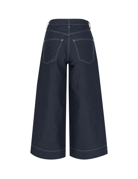 Women's Midnight Blue KENZO Culotte Trousers FA52PA0115AN.77