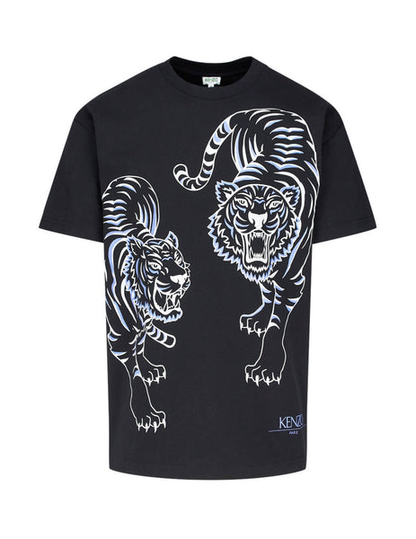 44431b19 KENZO Men's Giulio Fashion Black Double Tiger T-Shirt F965TS0584YK99 ...