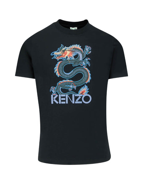 KENZO Men's Giulio Fashion Black Dragon T-Shirt F965TS0224SG99
