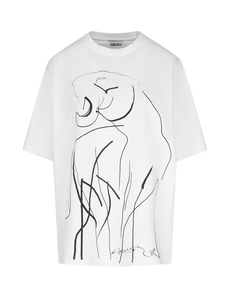 Women's KENZO Drawn Tiger T-Shirt in White. FA65MTS014SK.01