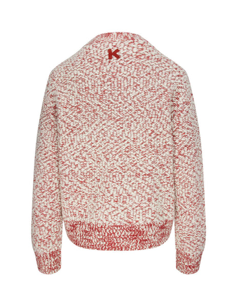 Women's KENZO Fire Cardigan in Red and White. FA62CA5183AG.19