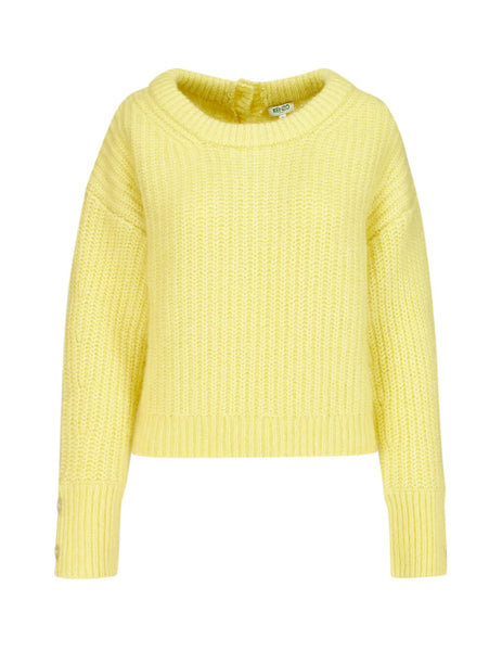 KENZO Women's Giulio Fashion Yellow Fringed Cropped Jumper F962TO62084337