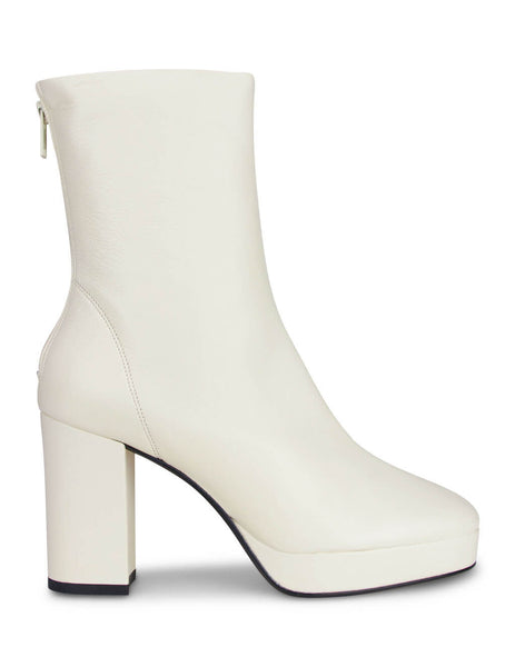 Women's KENZO Heeled Boots in Ecru Leather FA62BT031L.51