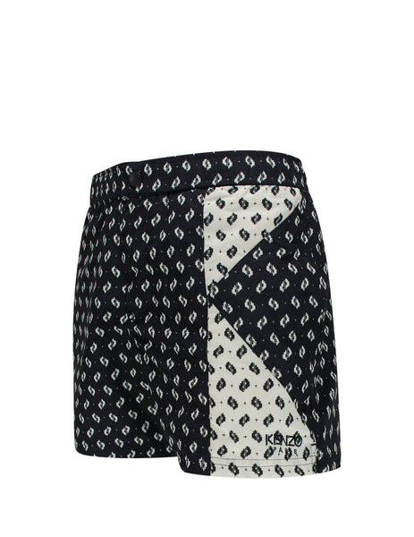KENZO Men's Giulio Fashion Black Ikat Swim Shorts FA55BA608SEB.99