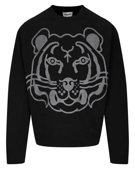 Men's KENZO K-Tiger Sweatshirt in Black - FB55SW0174MY99
