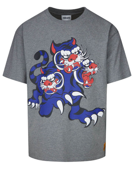 Men's KENZO x KANSAIYAMAMOTO Three Tigers T-Shirt in Dove Grey - FB55TS0714SJ95
