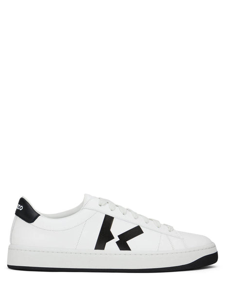 Men's KENZO Kourt K Logo Sneakers in White/Black - FA65SN170L5001