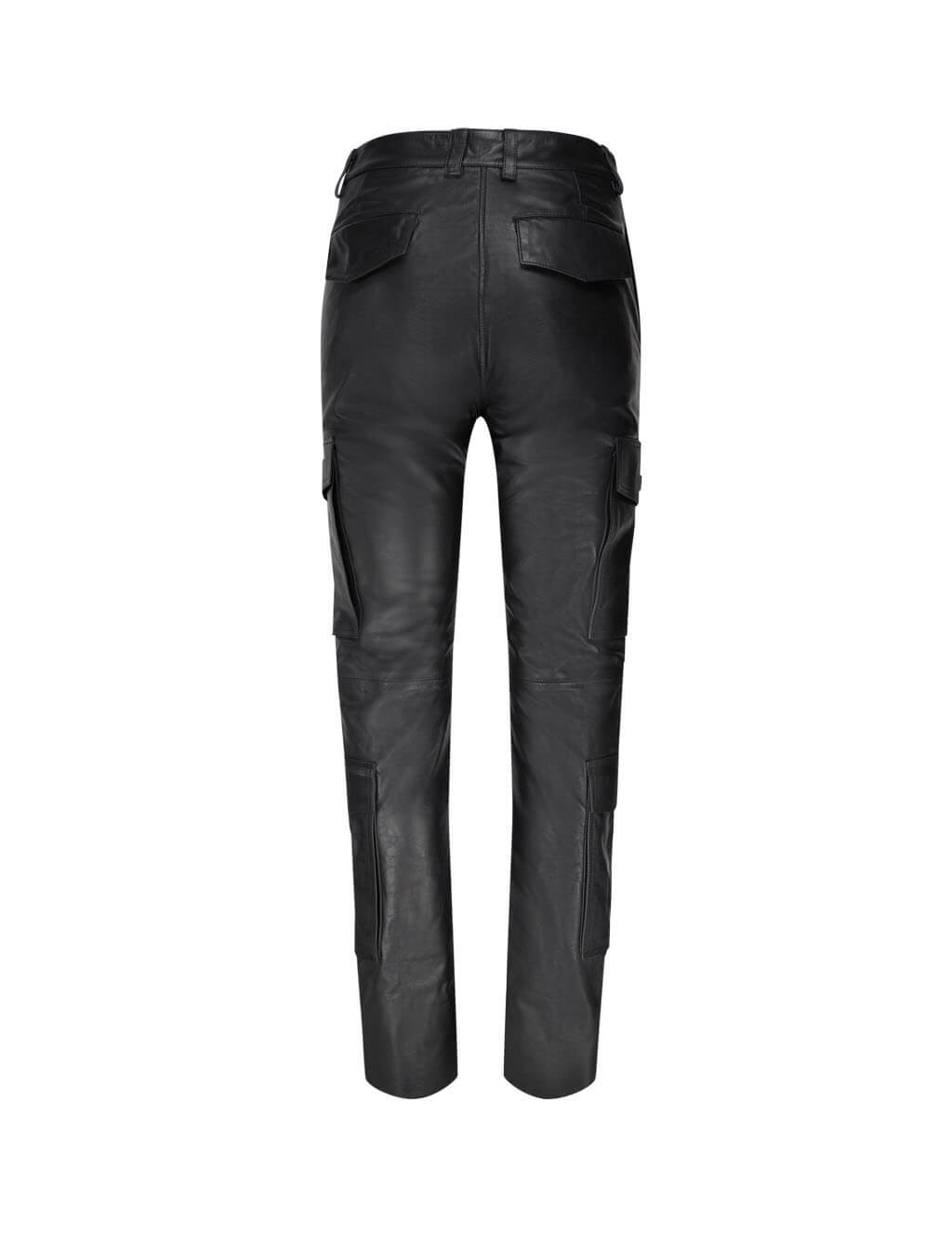 Women's KENZO Leather Cargo Trousers in Black. FA62WPA097AD.99