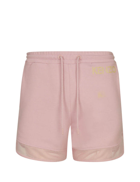 KENZO Women's Light Pink Mesh Panel Shorts in Cotton FA52PA719952.34