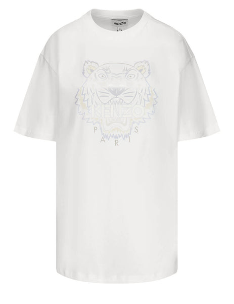 Women's KENZO Oversized Tiger T-Shirt in White - FB52TS9724YG01B