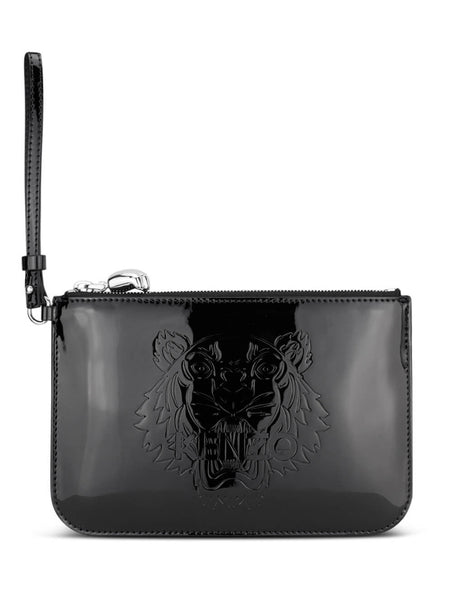 Women's Black KENZO Patent Leather Tiger Pouch FA52PM611F08.99