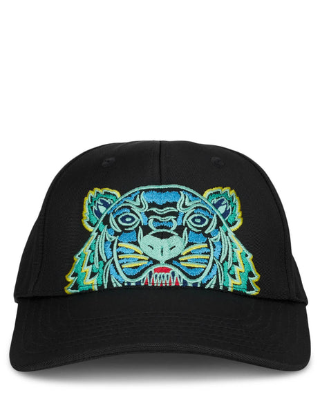 KENZO Men's Black and Blue Tiger Canvas Cap F855AC301F20.99D