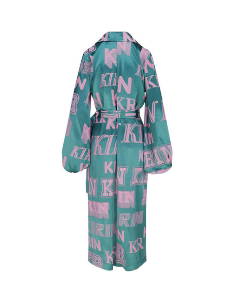 Women's Forest Green KIRIN Big Typo Trench Dress KWDB012S20FAB0015730