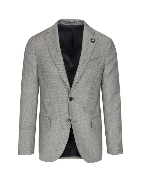 Lardini Men's Giulio Fashion Black/White Houndstooth Suit IL476AEILA5342215