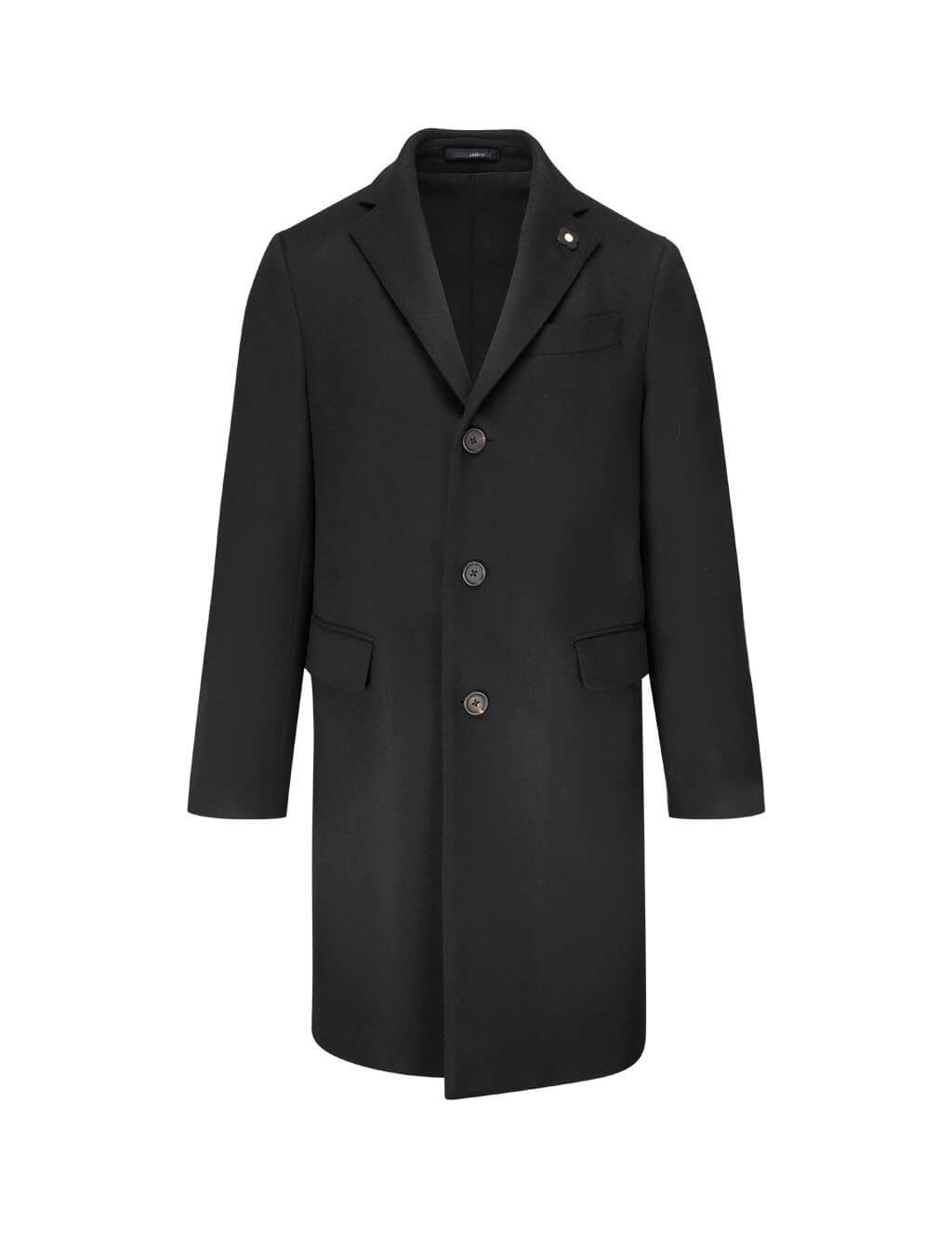 Lardini Men's Giulio Fashion Black Single-Breasted Coat IL23648AEILRP536934