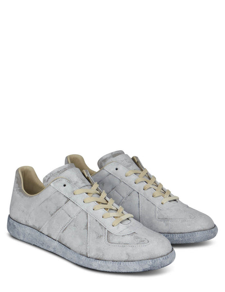 Men's Maison Margiela Replica Suede Sneakers in Grey/White - S57WS0236P1872H7700