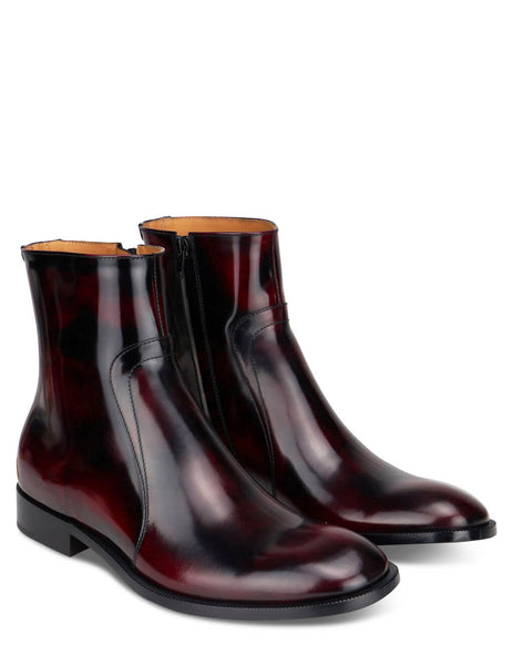 Men's Maison Margiela Zipped Ankle Boots in Bordeaux/Dark Wax - S37WU0415P3964H8391