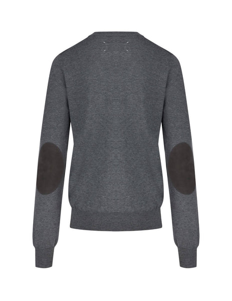 Men's Grey Maison Margiela Elbow Patch Jumper S50HA0959S17364859