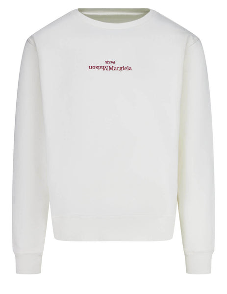 Men's Maison Margiela Embroidered Logo Sweatshirt in Off White - S50GU0166S25503101