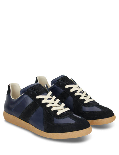 Men's Navy, Black and Tan Maison Margiela Low Top 'Replica' Sneakers S57WS0236P1895961
