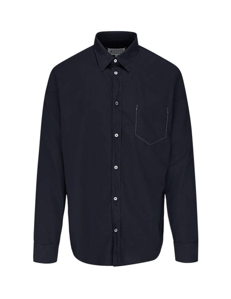 Maison Margiela Men's Giulio Fashion Navy Missing Pocket Shirt S50DL0393S39545511