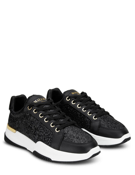 Women's Mallet London Kingsland Black Glitter Sneakers - TEW3051BLKGLT